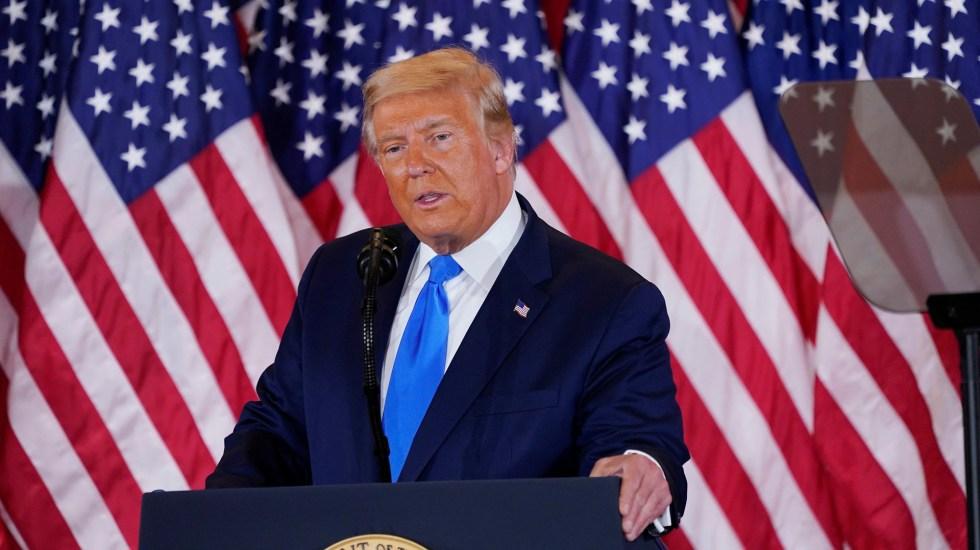 Trump insiste en Twitter en que hubo fraude en las elecciones estadounidenses - Donald Trump durante primer mensaje desde la Casa Blanca tras elecciones. Foto de EFE