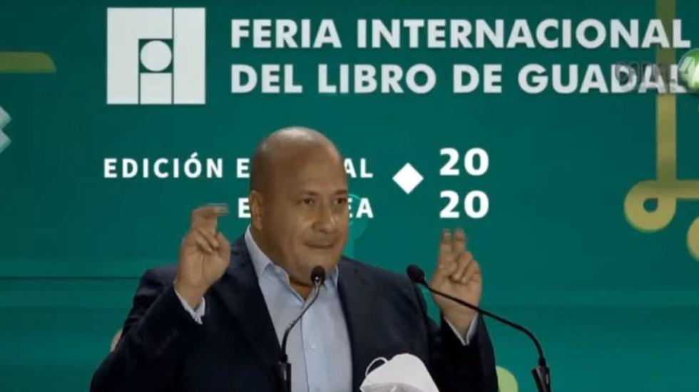 #Video Enrique Alfaro califica de 'ridículas' críticas de AMLO a la FIL Guadalajara - Enrique Alfaro en discurso inaugural de la FIL Guadalajara. Captura de pantalla