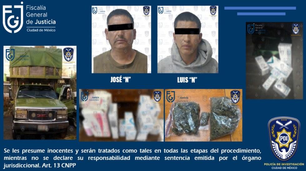 Hallan en tianguis de Iztapalapa medicamentos oncológicos robados - Hombres detenidos en posesión de medicamentos oncológicos robados. Foto de @FiscaliaCDMX