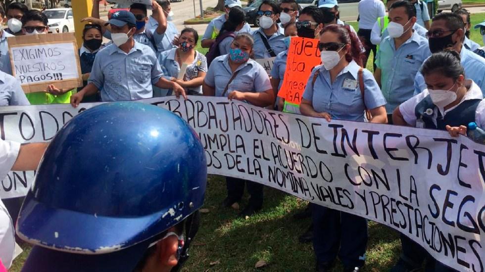 Interjet sigue sin cumplir pago de quincenas atrasadas; empleados de la aerolínea protestan en Cancún - Foto Twitter @aviacion21
