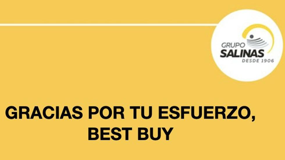 Mensaje de Grupo Salinas por salida de Best Buy genera polémica; lo tachan de 'oportunista' - Mensaje de Grupo Salinas a Best Buy. Foto de @gruposalinas