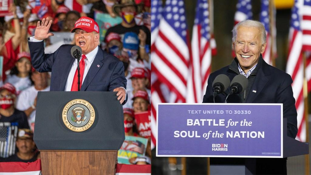 Elecciones en Estados Unidos sin claro ganador; resultado dependerá de estados clave - Donald Trump y Joe Biden durante actos de campaña. Foto de EFE / @JoeBiden