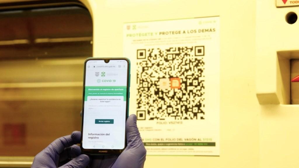 Colocan códigos QR para rastreo de casos de COVID-19 en el Metro - Foto de Metro CDMX