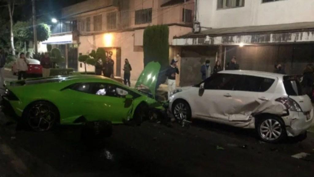 Mintió hombre que declaró ante Fiscalía por choque de Lamborghini; no fue el responsable - Lamborghini tras choque en Polanco. Foto de @AramosBlack