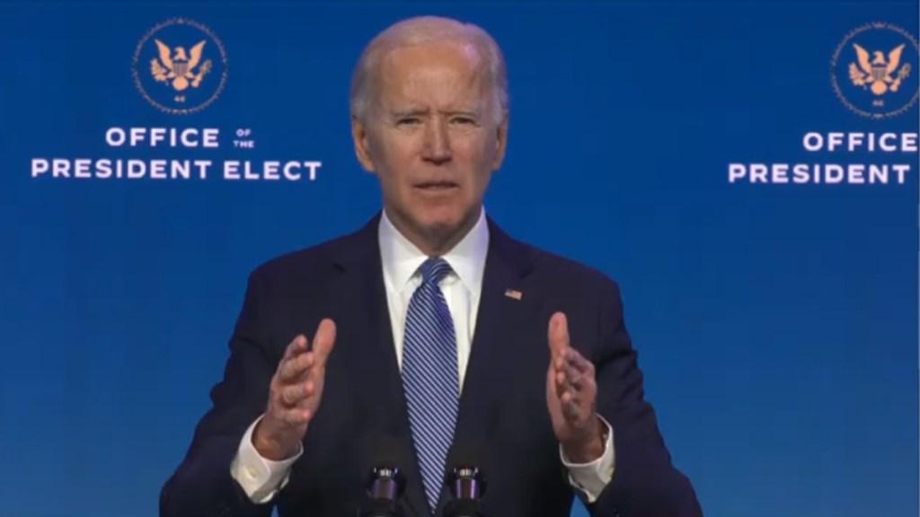 Biden confía vacunar contra COVID-19 a 100 millones de personas en primeros 100 días de gestión - Biden en mensaje a la nación tras asalto al Capitolio. Captura de pantalla