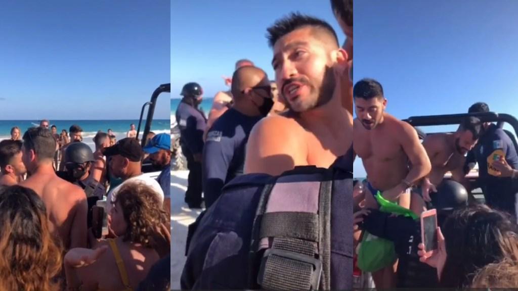 #Video Detienen en Tulum a pareja gay por besarse; acusan homofobia - Detención de pareja gay en Tulum. Captura de pantalla