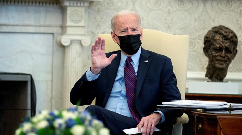 Promueve Biden admisión de refugiados y protección de derechos humanos de personas LGBTQI+ - Joe Biden en salón de la Casa Blanca. Foto de EFE