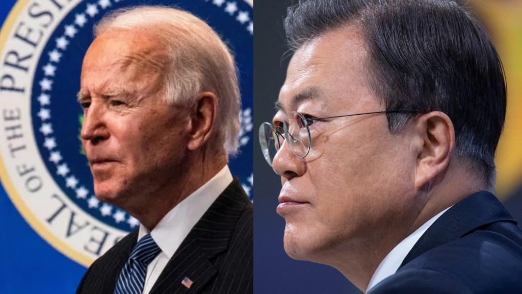 Joe Biden y Moon Jae-in, presidente surcoreano, acuerdan potenciar alianza para lograr la paz en la península de Corea - Joe Biden Moon Jae In