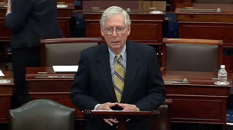 Trump pide reemplazar a Mitch McConnell como líder republicano en el Senado - Mitch McConnell al comparecer en segundo juicio político contra Trump. Foto de EFE