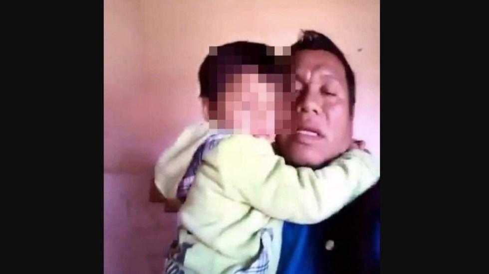 #Video Detienen a niño de cuatro años y su padre en Chiapas - Captura de pantalla