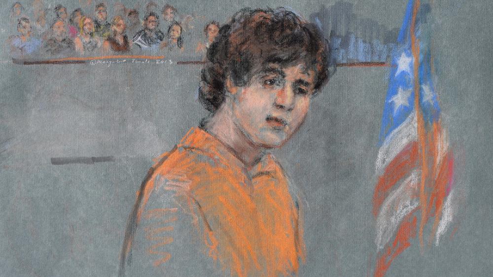 Supremo de EE.UU. evalúa imponer pena de muerte al autor del atentado de Boston - Detalle de un retrato artístico de Dzhokhar Tsarnaev, uno de los autores del atentado de la maratón de Boston de 2013. Foto de EFE
