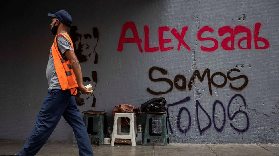 Tribunal Supremo de Cabo Verde autoriza extradición a EE.UU. de empresario colombiano - Graffiti de apoyo a Álex Saab en Caracas, Venezuela. Foto de EFE