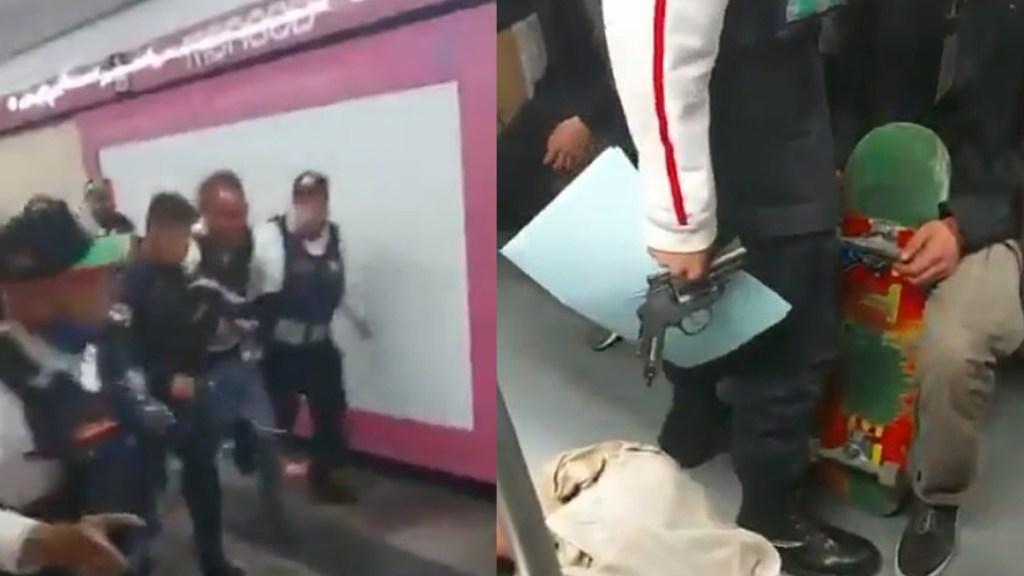 #Video Detienen a sujeto armado en estación Merced del Metro tras protagonizar riña - Hombre armado detenido en Metro Merced. Captura de pantalla