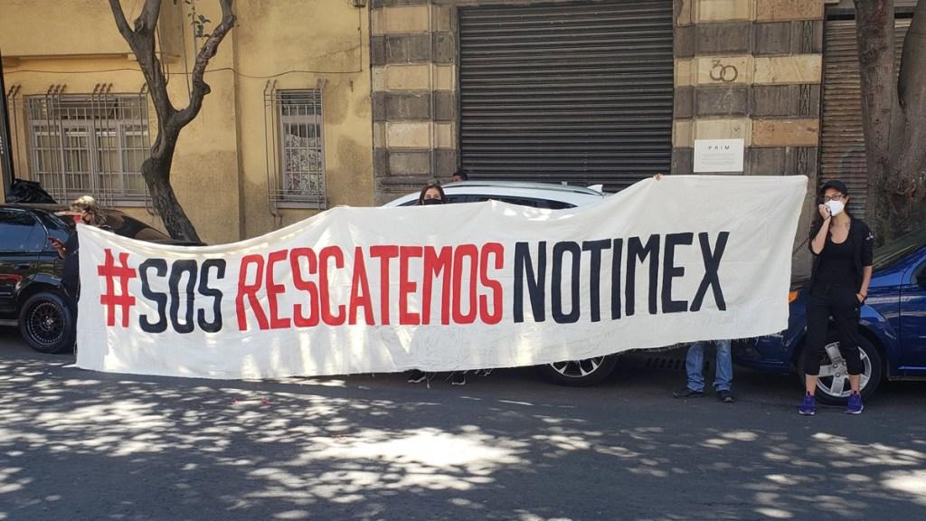 Secretaria General de Sindicato de Notimex desconoce orden de aprehensión en su contra - Manifestación del SUTNotimex. Foto de @sutnotimex