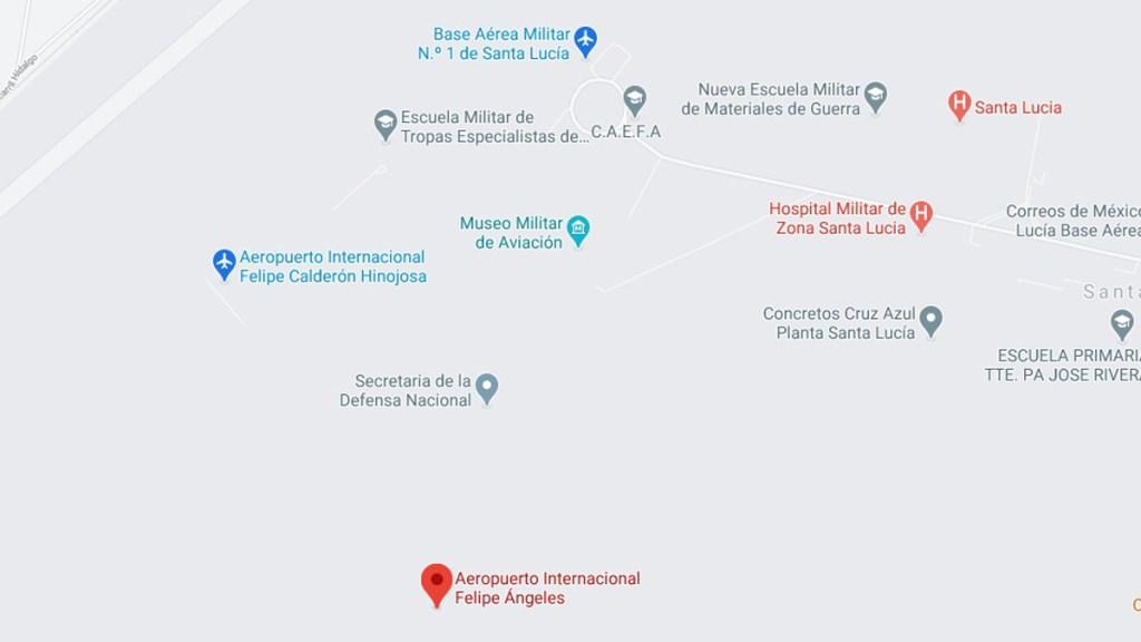 Dan de alta en Google Maps el 'Aeropuerto Internacional Felipe Calderón' - Aeropuerto Internacional Felipe Calderón Hinojosa. Captura de pantalla / Google Maps