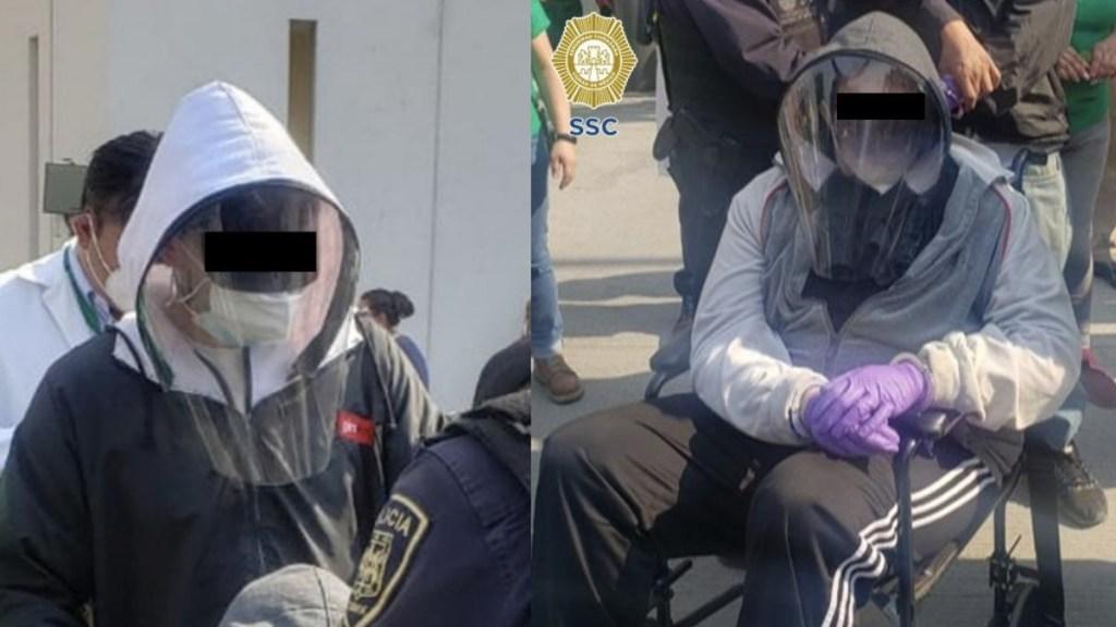 Jóvenes se disfrazan de ancianos para vacunarse contra COVID-19; están detenidos - En las fotos, los sujetos disfrazados de ancianos para recibir vacuna. Foto de SSC CDMX