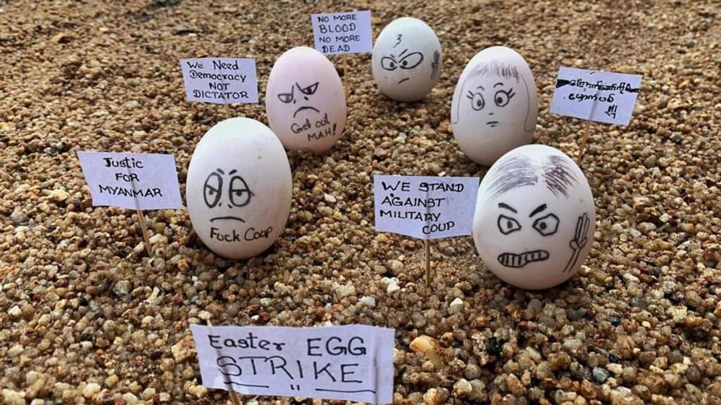 Manifestantes usan huevos de Pascua para desafiar a la junta militar en Birmania - Huevos de Pascua para protestar contra el golpe de Estado en Birmania. Foto de @Myanmar_Now_Eng