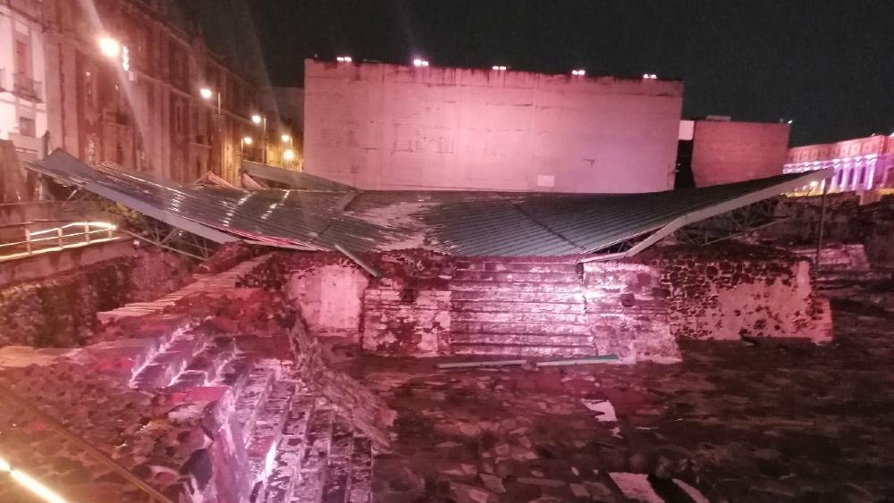 AMLO afirma que serán reparados daños en Templo Mayor tras granizada - Templo Mayor techo granizada CDMX