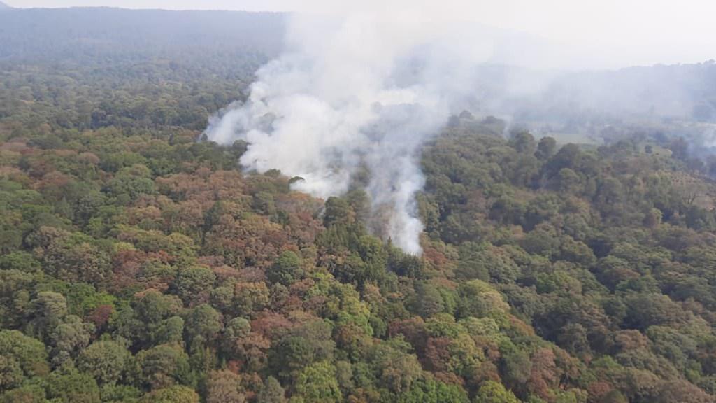 México tiene 73 incendios forestales activos; suman 15 mil hectáreas afectadas - Vista aérea de uno de los 73 incendios forestales activos en México. Foto de Conafor