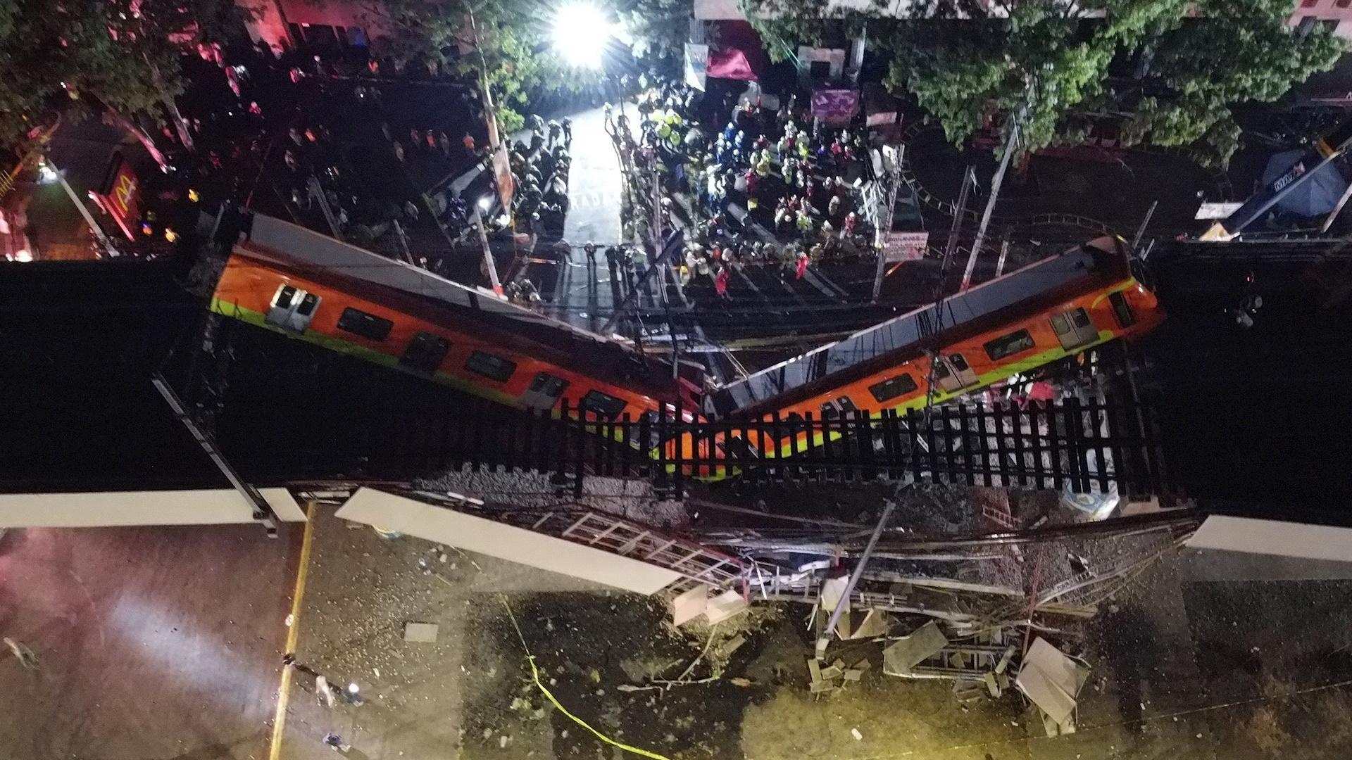 Fotografía que muestra colapso en la Línea 12 del Metro. Foto de EFE/ Sáshenka Gutiérrez