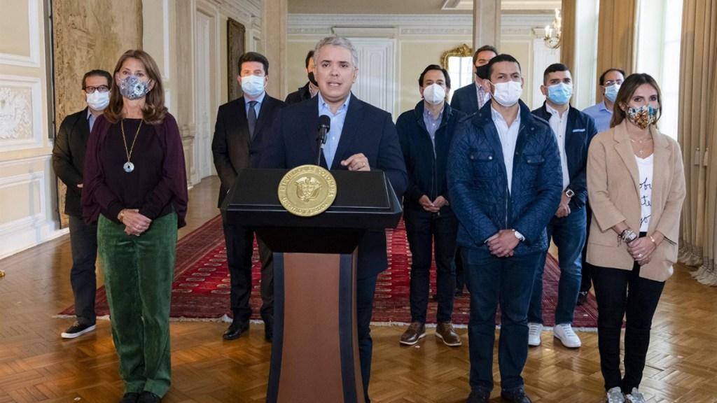 Retiran proyecto de reforma tributaria que originó protestas en Colombia - Mensaje del presidente de Colombia, Iván Duque. Foto de EFE