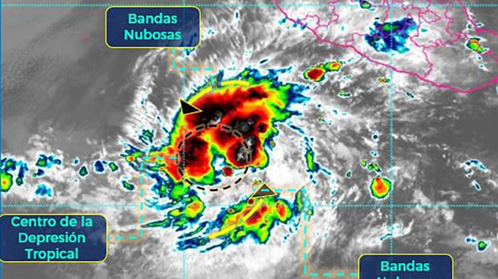 Depresión tropical Dos-E se convertirá en la tormenta Blanca - Depresión tropical Dos-E. Foto de SMN