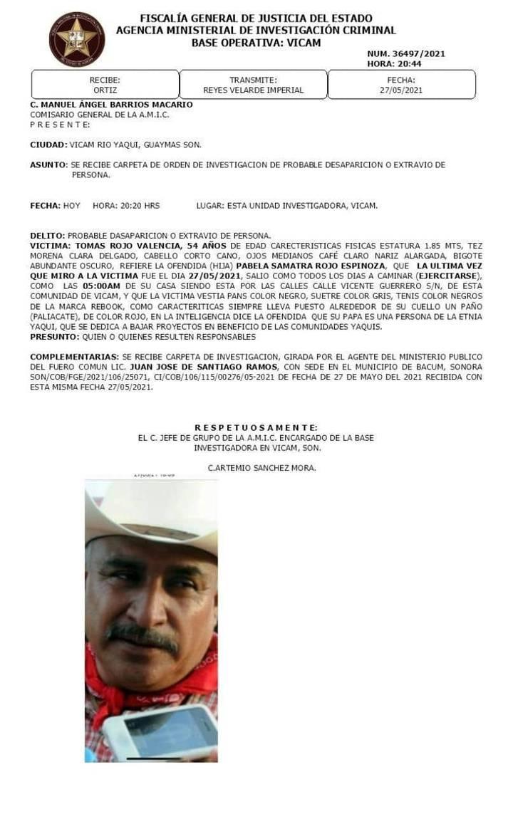 Ficha de desaparición de Tomás Rojo por parte de la Fiscalía de Sonora