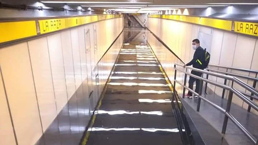 #Video Lluvia inunda acceso a estación La Raza del Metro - Inundación de acceso a Metro La Raza. Foto de @AlcaldiaGam