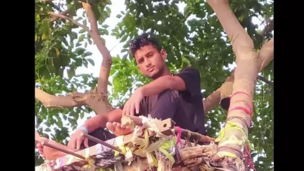 Joven hace cuarentena en árbol para no contagiar a su familia de COVID-19 - Joven se refugia en árbol en contagio de COVID-19. Foto de Times of India