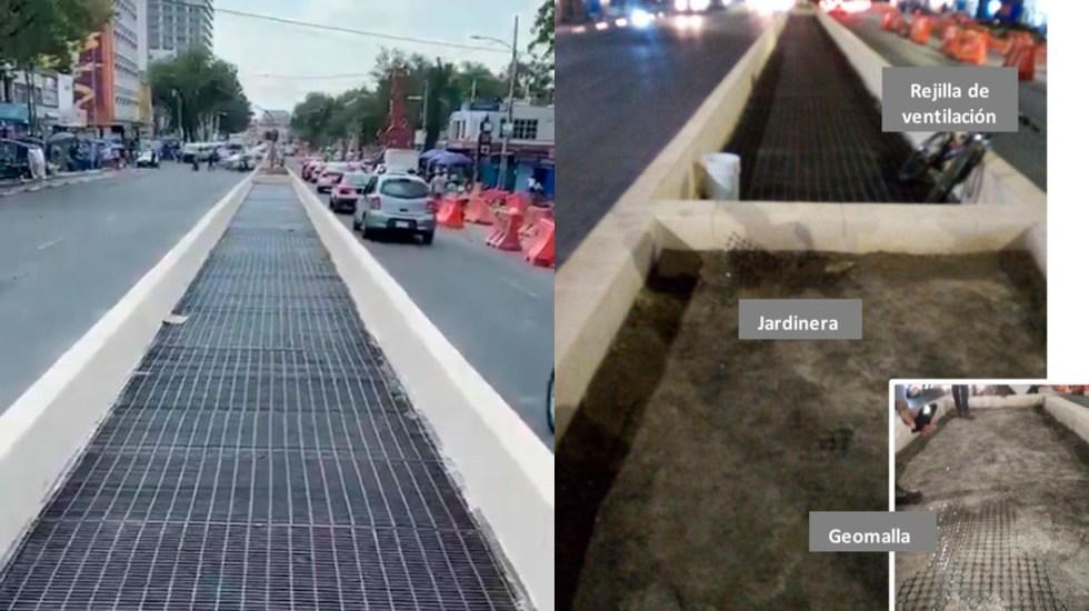 Niega CDMX obstruir ventilación de Línea 2 del Metro sobre Calzada México-Tacuba - Rehabilitación de camellones sobre Calzada México-Tacuba. Foto de Sobse