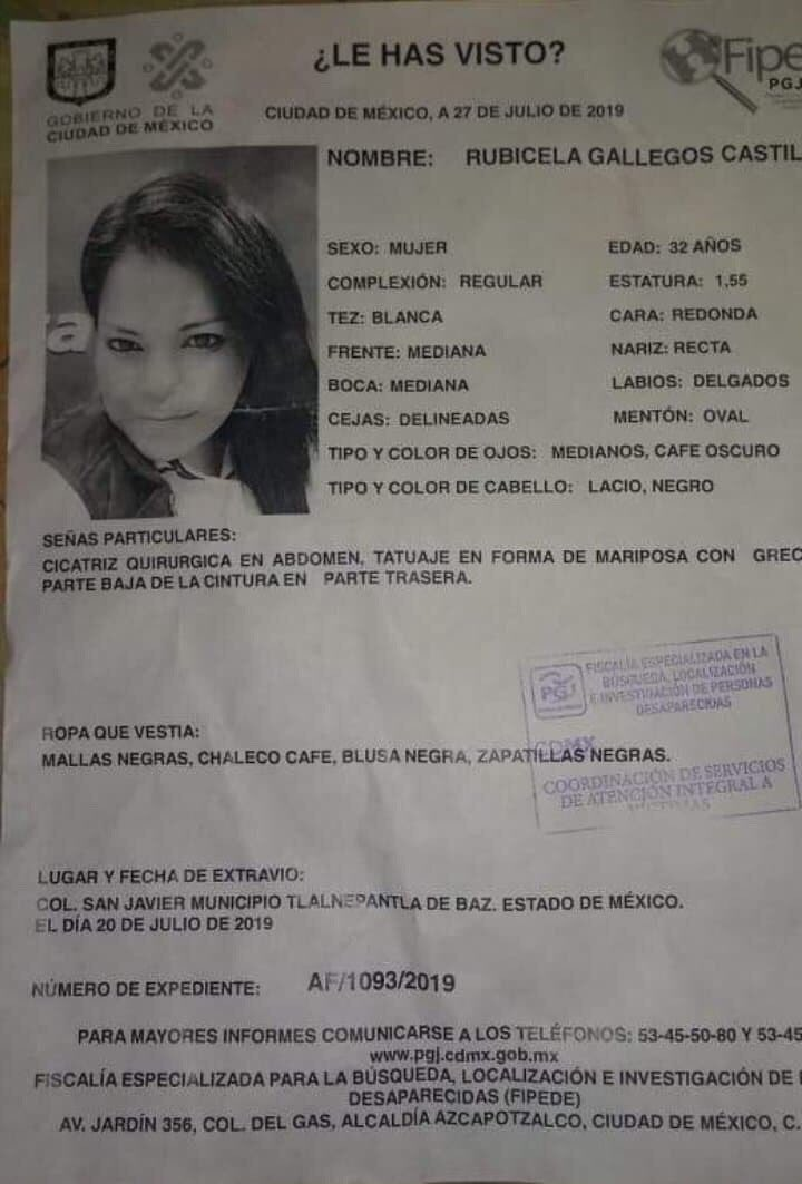 Denuncia de la desaparición de Rubicela Gallegos. Foto de Telediario