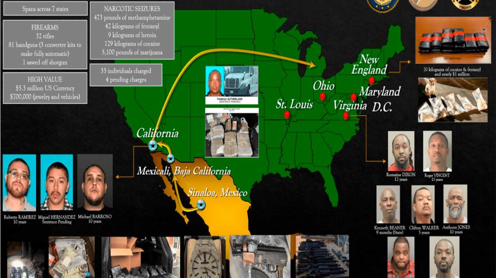 DEA desmantela redes de narcotráfico vinculadas al Cártel de Sinaloa - Rutas usadas para el tráfico de drogas en EE.UU. vinculadas al Cártel de Sinaloa. Foto de DEA