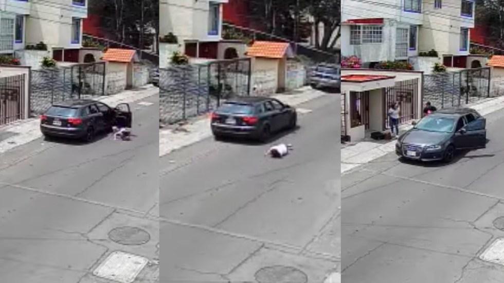 #Video Sujeto avienta de auto a su novia; minutos después regresa por ella - Sujeto arroja de auto a su novia en Naucalpan. Captura de pantalla