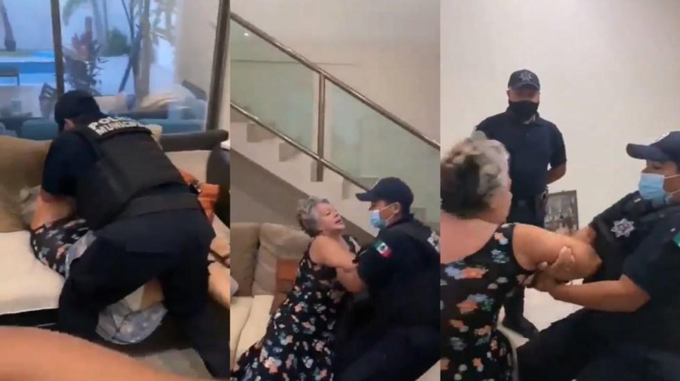 #Video Policías forcejean con mujer de la tercera edad para desalojarla de casa en Cancún - Video forcejeo mujer Cancún Quintana Roo Policías