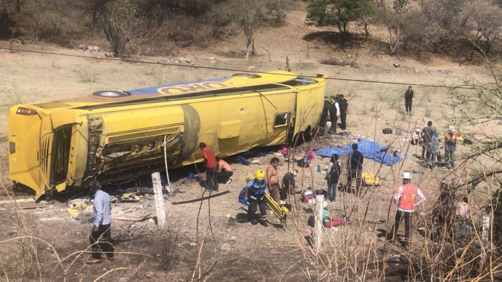 Volcadura de autobús en Puebla deja seis muertos y 24 heridos - Volcadura de autobús en Puebla. Foto de @PC_Estatal