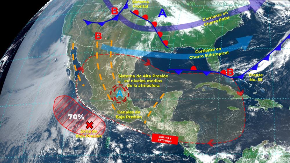 Primer ciclón de la temporada se desarrollaría en Michoacán - Zona de baja presión Michoacán SMN