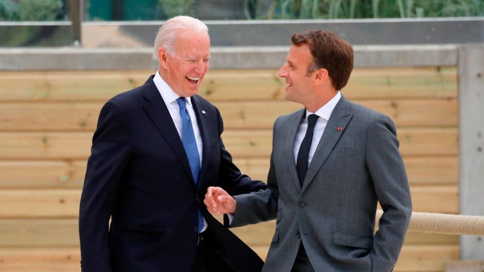 """Biden muestra sintonía con Macrón y califica a UE de """"dinámica y fuerte"""" - Biden Macron G7 EEUU Francia"""