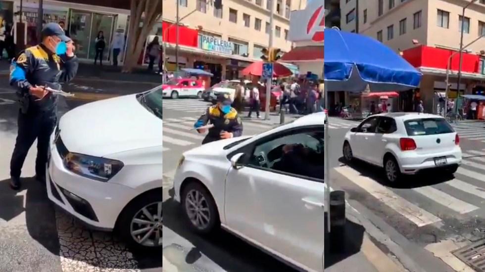 #Video Conductor atropella a policía en CDMX para evitar multa; es detenido - Conductor atropella a policía en Centro Histórico de la Ciudad de México. Captura de pantalla