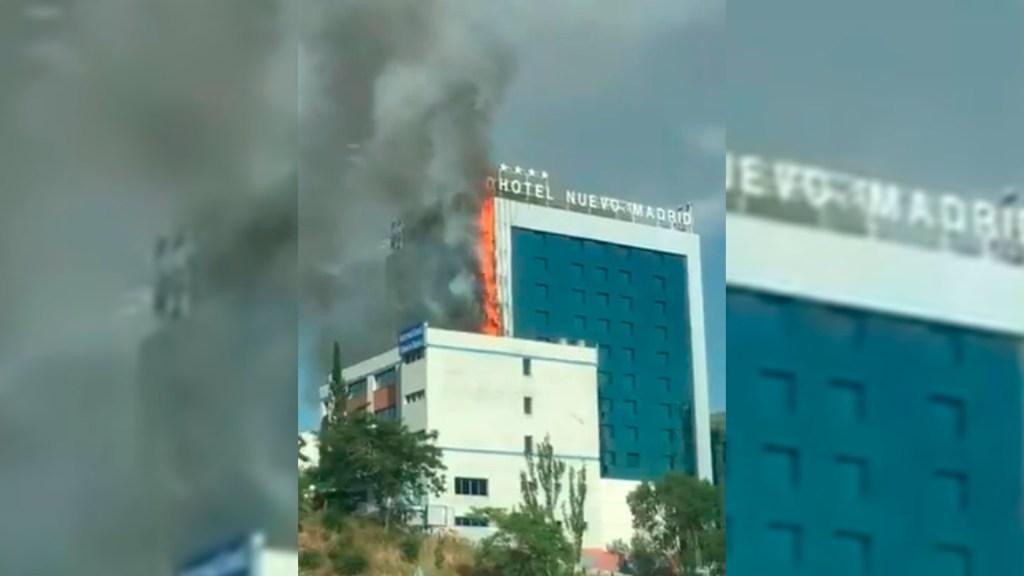 #Video Se incendia el Hotel Nuevo Madrid en España - Incendio del Hotel Nuevo Madrid en España. Captura de pantalla