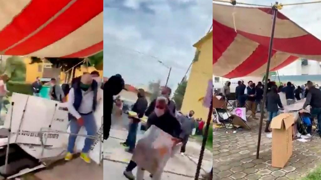 #Video Golpeadores de Morena destrozan casilla en Metepec - Robo de boletas y destrozo de casilla en Metepec. Captura de pantalla