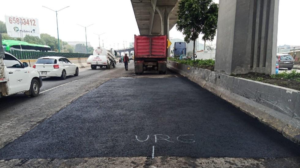 Reparan deterioro en el asfalto en Periférico Norte - socavón Edomex Periferico