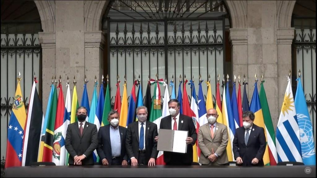 Celac acuerda constituir la Agencia Latinoamericana del Espacio - Firma de la Agencia Latinoamericana del Espacio. Foto Captura de pantalla / SRE.