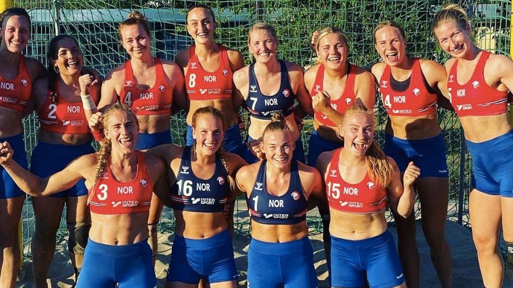 Pink ofrece  pagar la multa de la selección Noruega por no usar bikini - Noruega equipo balonmano shorts bikini