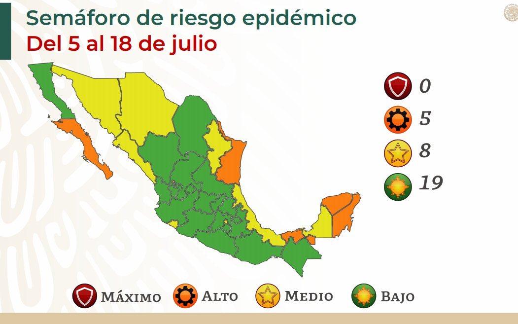 Semáforo epidemiológico. Gráfico de Secretaría de Salud
