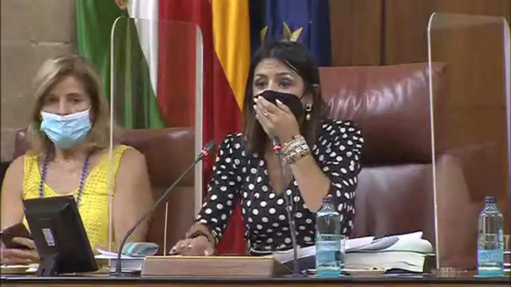 #Video Rata interrumpe sesión en Parlamento de Andalucía, España - Sorpresa de la presidenta del Parlamento de Andalucía al ver la rata. Captura de pantalla