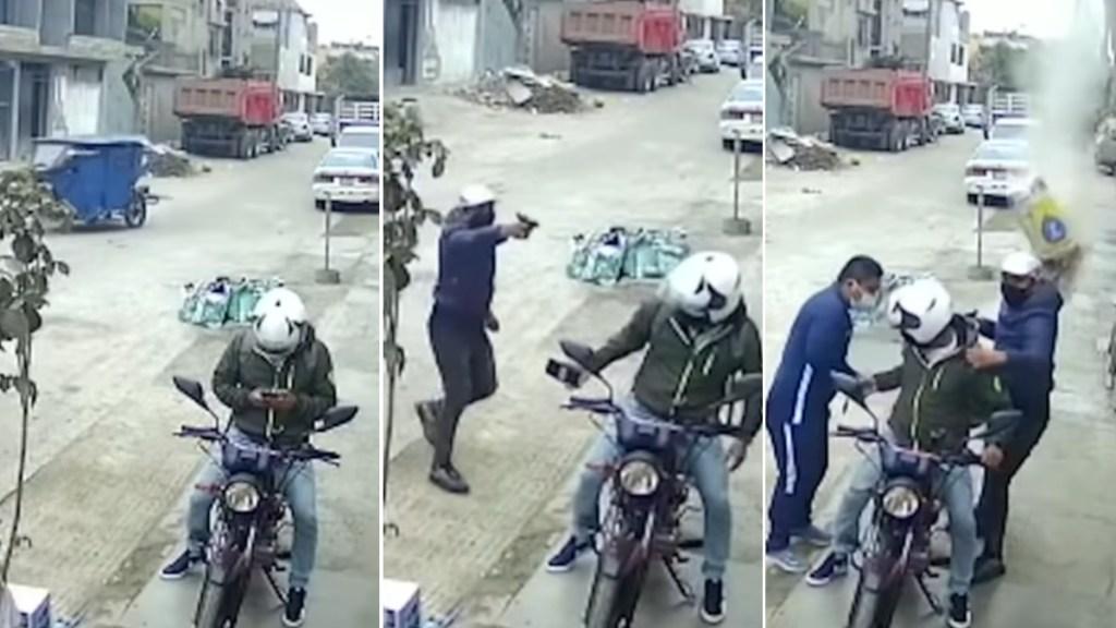 #Video Obreros lanzan costal de cemento para frustrar asalto - Cemento Perú asalto motociclista