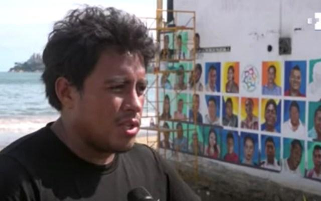 Pintan los rostros de 50 desaparecidos en una playa de Acapulco - Mural en Guerrero con rostros de personas desaparecidas