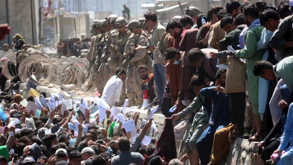 Últimas tropas británicas dejan Kabul, finalizando 20 años de campaña militar - Afganos muestran credenciales mientras intentan contactar con las fuerzas internacionales para intentar huir del país, en los exteriores del aeropuerto Hamid Karzai de Kabul. Foto de EFE/AKHTER GULFAM.