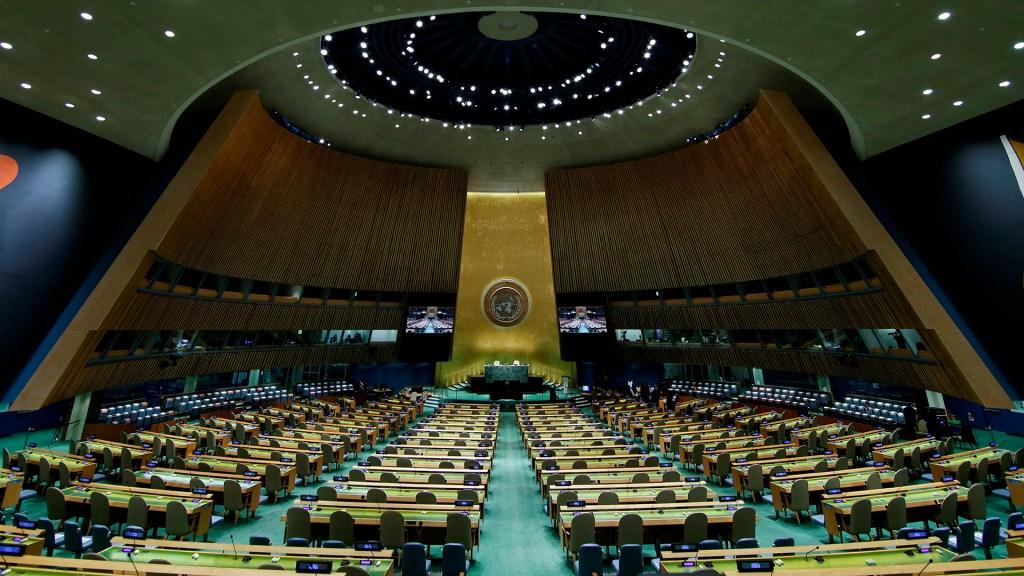 Líderes vuelven a la ONU en una Asamblea marcada aún por la pandemia - Salón de la Asamblea General de la ONU vacía. Foto de EFE