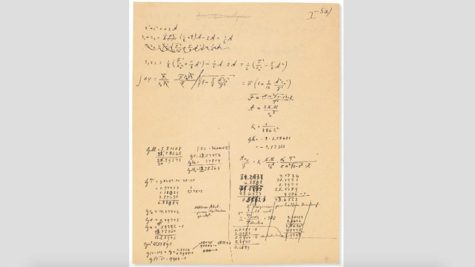 Subastarán manuscrito de Einstein sobre teoría de la relatividad - Einstein manuscrito subasta teoría relatividad